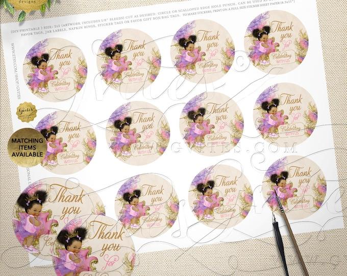 "Baby Shower Thank You Labels | Pink Purple & Gold Afro Puffs Vintage | Digital File | JPG + PDF  2x2"" 12/Per Sheet"
