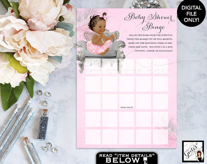 Pink and Silver Baby Shower Games princes bingo, card vintage ethnic ruffles bows. 5x7/2 Per Sheet. {Feathers: Silver/White/Pink}
