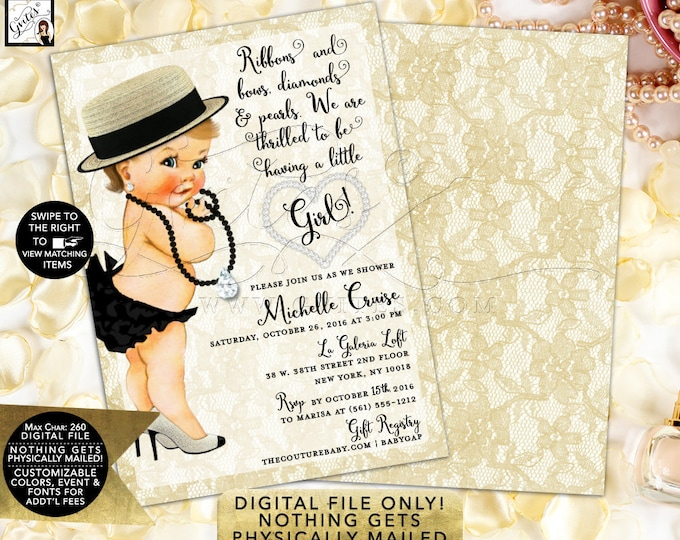 Diamonds Lace Baby Shower Invitations, Ivory Black Gold, Pearls, Glitz Glam, Fashion Designer Vintage, Printable, Digital, 5x7 Double Sided