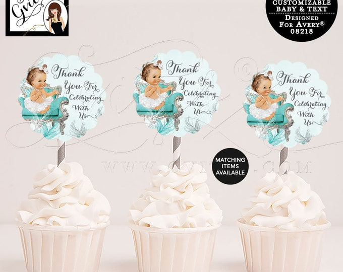 "Cupcake Toppers Baby Shower Turquoise Blue Silver and White, Decorations Baby Shower, 2.5x2.5""/9 Per Sheet {Designed For Avery® 08218}"