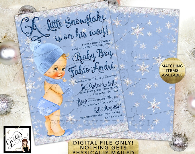 """A little Snowflake is on the way! Baby Shower Boy Invitations, Winter Printable Invites. Vintage. 5x7"""" Double Sided. Digital File Only!"""