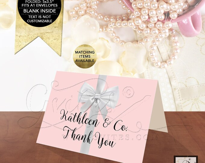 "Name & Co Thank You Bridal, Baby or Birthday. Folded Cards 5x3.5"" 2 Per/Sheet. Customizable Tex/Colors/Fonts. Digital File Only!"
