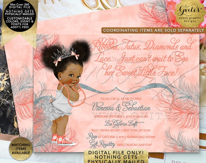 "Coral & Silver Baby Shower Invitation | Afro Puff Girl Vintage | Printable Digital File | JPG + PDF | 7x5"" Double Sided"