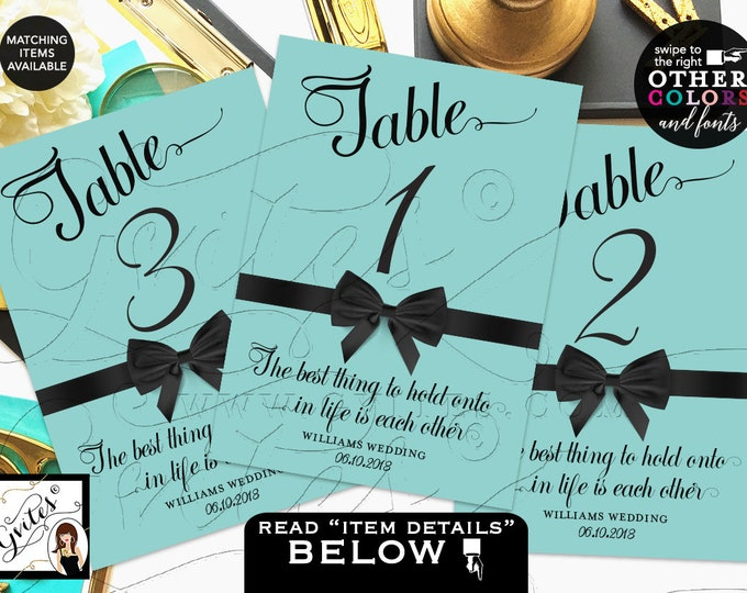 Turquoise Blue Wedding Table Numbers, Breakfast at themed shower, birthday, Audrey Hepburn quotes, table decor, Printable, DIY, 4x6 or 5x7.