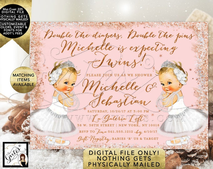 Winter Swan Lake Baby Shower Invitations For Twins. Rose Gold and Blush Pink Glitter, Snowflake feathers themed. Digital File Only! 7x5""