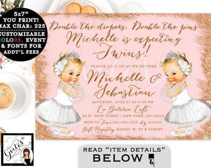 "Rose Gold Baby Shower Invitation, Swan Lake Twin Baby Girls, Vintage White Ballerina, Printable Party Invites, Digital, DIY, 7x5"""