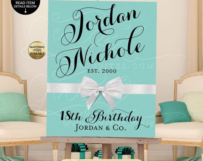 18th Birthday Welcome Sign Breakfast at birthday banner poster signs, banners, decorations, customizable colors & text.  PRINTABLE
