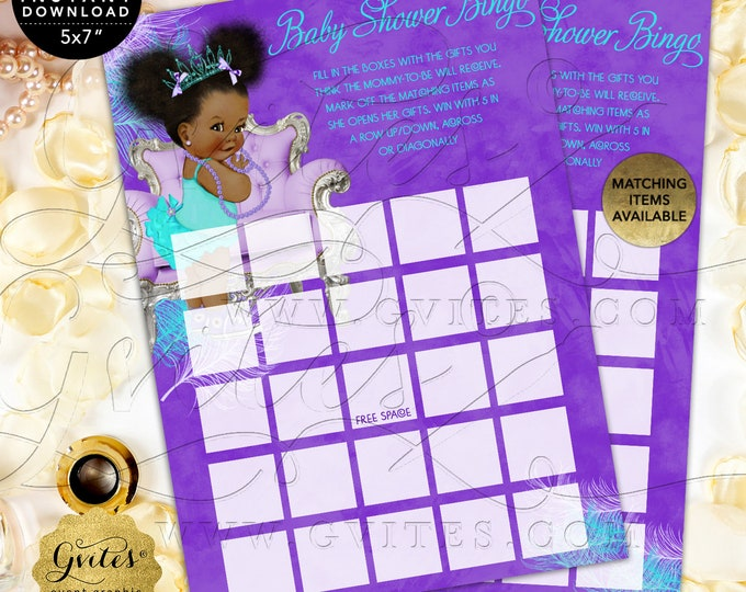 "Bingo Baby Shower Game Purple Lavender Aqua Turquoise, Tiara Princess, Afro Puffs Girl 7x5"" 2 Per Sheet  {Instant Download}"