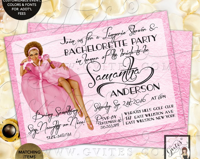 "Bachelorette Party Invitation and Lingerie Shower Vintage Pinup Girl. 7x5"" Double Sided, Printable, Digital File Only!"