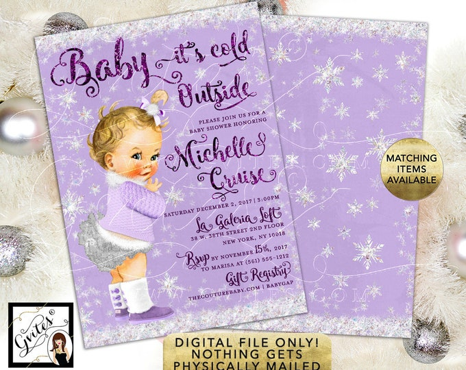 "Baby it's Cold Outside Shower Invitations, Winter Glitter Snow Vintage Girl. Purple Lavender Silver. 5x7"" Double Sided."