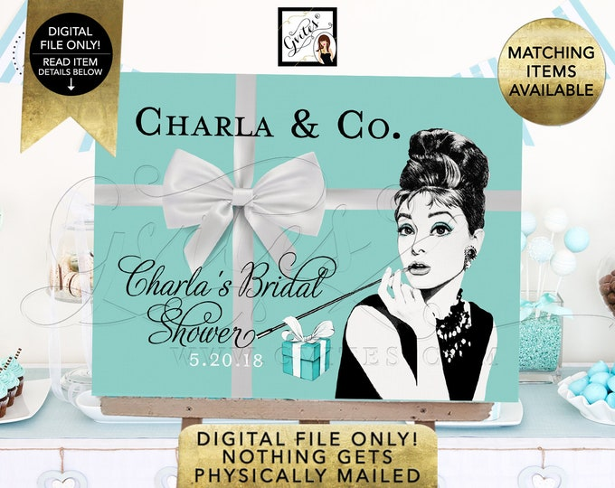 Bridal Shower Table Backdrops, Audrey Hepburn Printable Signs, Poster Decorations. Digital File Only!