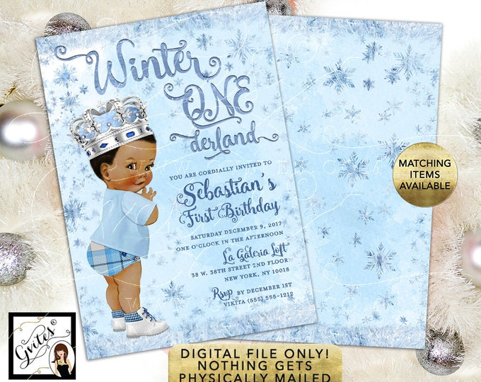 """Winter ONEderland African American Boy Invitation Ice Blue Silver Invitations Snowflake First Birthday Printable Invites, 5x7"""" Double Sided."""