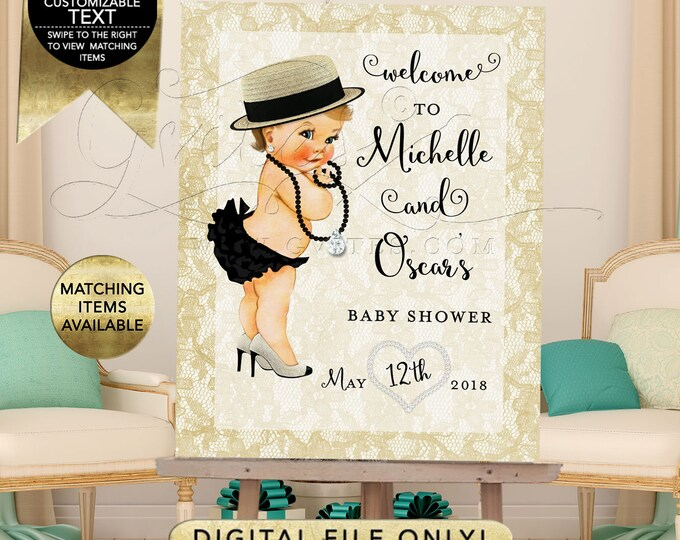 Diamonds and Pearls Banner Baby Shower Welcome Sign, Decorations, Ivory Black Gold, Glitz Glam, Fashion Designer Vintage, Printable, Digital