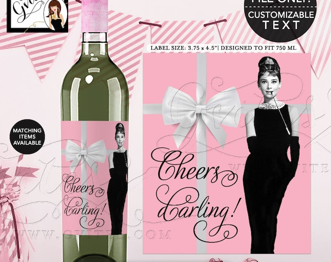 "Audrey Hepburn Party Wine Labels, Cheers Darling! Breakfast Pink Wine Bottle Label. Customizable Pic/Text 3.75x4.5""/4 Per Sheet"