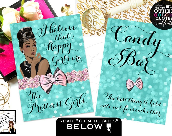 Candy bar sign, Audrey Hepburn African American printable quotes, sweet 16 table birthday party signs, CUSTOMIZABLE {4x6 or 5x7} Set of 2