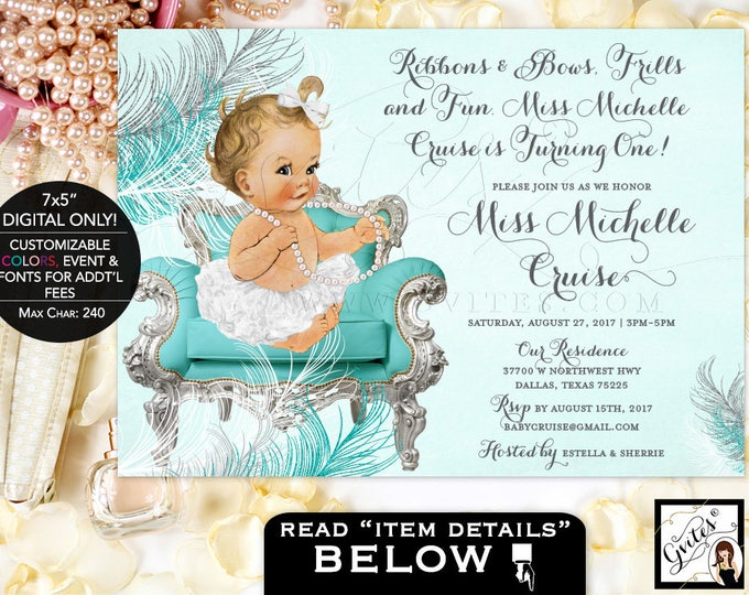 "Ribbons and Bows First Birthday Invitation, Blue and silver invitations, ribbons bows frills and fun, baby girl, vintage, 7x5"" Gvites"