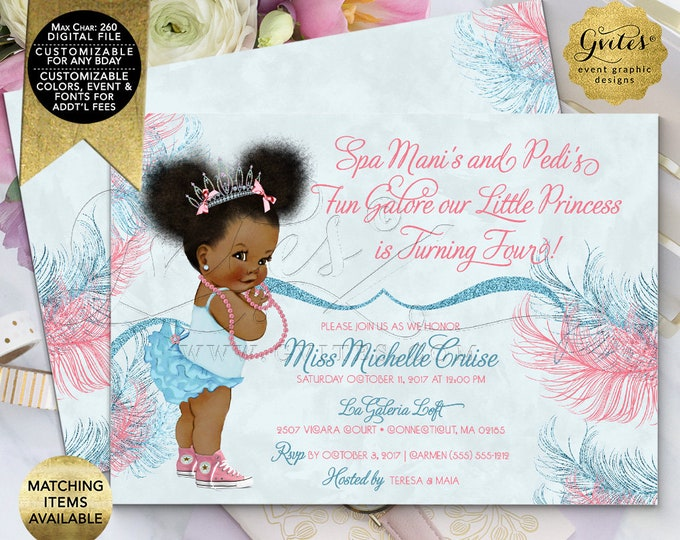 Birthday Invitations, 1st 2nd 3rd 4th Birthday Party, Pink Blue , Baby Blue, Afro Puffs,Vintage, Princess Tiaras, Manis Pedis, Printable 7x5