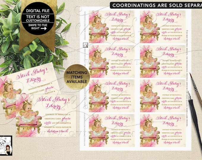 "Book For Baby Inserts - Pink & Gold Baby Shower {INSTANT DOWNLOAD Light/Blonde} 3.5x2.5"" 8/Sheet"