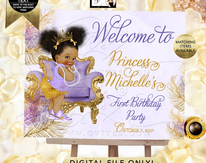 Gold and Lavender First/2nd/3rd/4th/5th Birthday WELCOME SIGN, Princess Afro Puffs Invites, Girl Vintage, Printable Party, DIY, Digital.