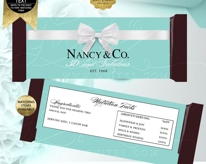 """50 and Fabulous Candy Bar Wrapper birthday party favors, Breakfast at co blue Customizable 2 Per/Sheet 5.25x5.75"""" {Realistic Satin Ribbon}"""