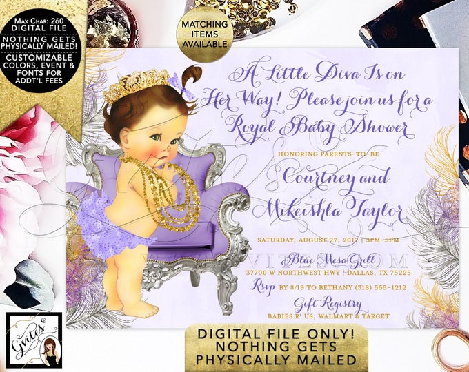A little Diva Baby Shower Invitation, Lavender gold and silver. Printable vintage baby girl party invites. Caucasian/Brunette. Digital File!