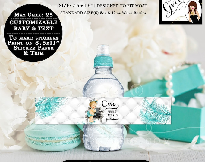 """MINI Water Bottle Labels First Birthday Party, Princess favors water blue & silver label, stickers. 8oz-12oz Bottles 7.5 x 1.5""""/7 Per Sheet."""