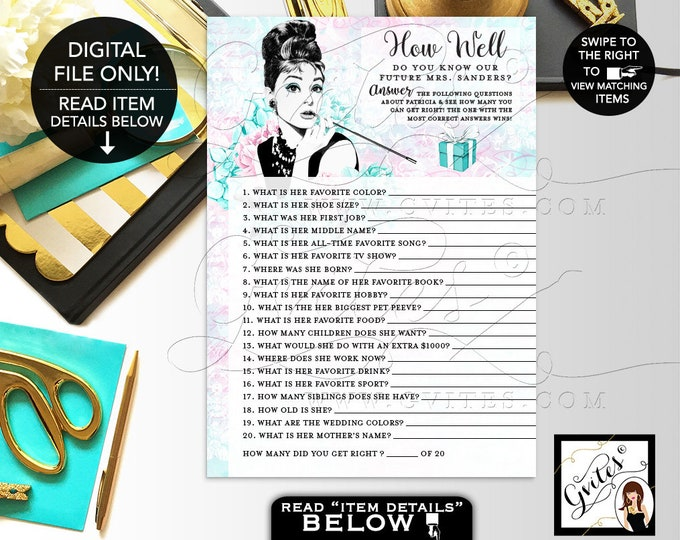 "How Well Do You Know The Bride, blue themed Audrey Hepburn party printable bridal shower games, PERSONALIZED NAME 5x7"" 2/Per Sheet."
