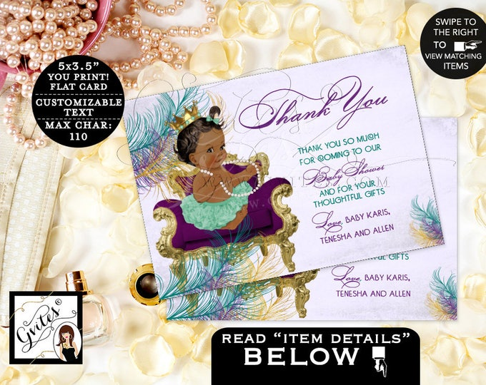"Thank You Baby Shower Purple Teal Cards, Princess African American Peacock Printable Thank You Baby Girl. DIGITAL 5x3.5"" 4/Per Sheet"