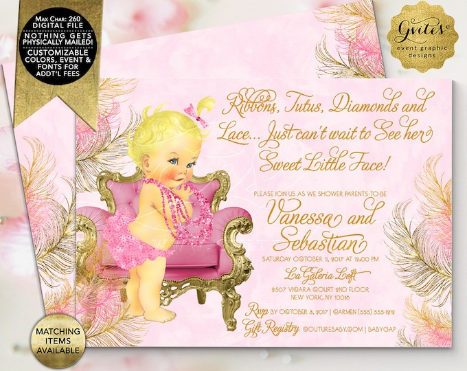 "Pink and Gold Baby Shower Vintage Invitations, Printable Couture Party Invites. 7x5"" Double Sided Printable File Only!  {Pink/Gold Feathers}"