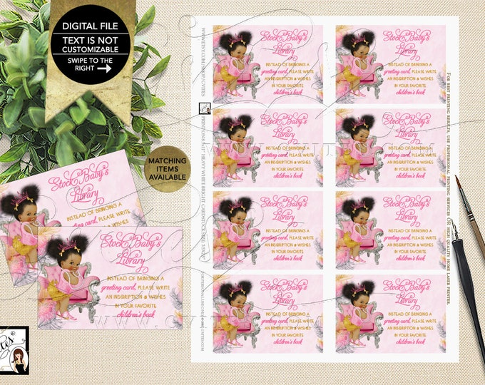"Baby Book Request Pink Gold and Silver Afro Puffs Shower Inserts, Games, Printable, Tickets 3.5x2.5"" 8/Sheet {Pink/Silver/Gold Feathers}"
