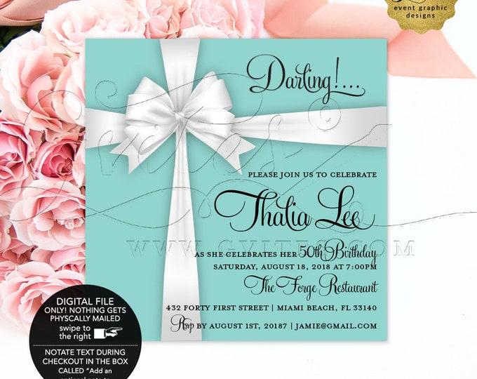 "Blue 40th Birthday Printable Invitation, Breakfast at, Little Black Dress, Diamonds Pearls, Adult Woman Elegant Invites, Digital, 5x5"""
