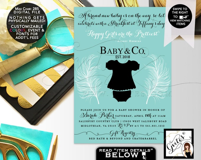 Baby and Co Baby Shower Invitations, Party Printable, Audrey Hepburn Themed, Breakfast at, White Feathers, Happy Girls Prettiest, Gvites.