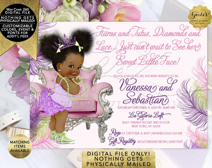 "Pink Purple and Lime Green BABY SHOWER Invitation, Princess Invites, Afro Puffs, Tiaras Tutus Diamonds Lace, DIY, Digital, 7x5"" Gvites"