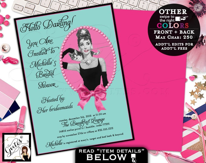 Pink and Blue Breakfast at Theme, Bridal Shower, Audrey Hepburn custom invites, personalized digital wedding invitation, double sided, 5x7.