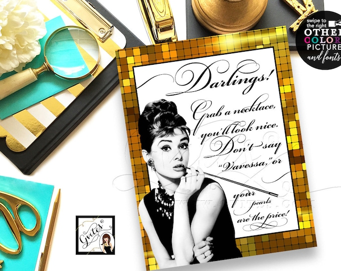Great Gatsby Audrey Hepburn Pearl Necklace Game, Black white and gold, breakfast at bridal shower games, printable, 8x10