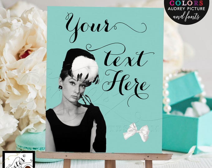 Custom Audrey Hepburn Welcome Signs For Birthdays, Bridal Shower, Graduation, Any Event! Digital File Only. 8x10""