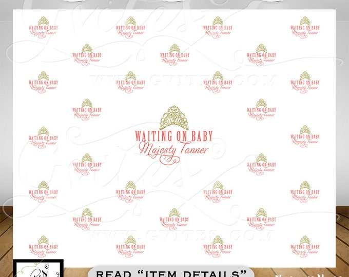 Baby Shower, welcome baby Step & Repeat backdrop, custom step and repeat sign pink gold. Photo booth wall backdrop. {8ft x 8ft} Gvites