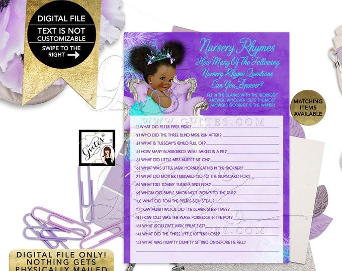 "Nursery Rhymes Baby Shower Game, Quiz Purple Lavender Aqua Turquoise, Tiara Princess, Afro Puffs Girl 7x5"" 2 Per Sheet  {Instant Download}"