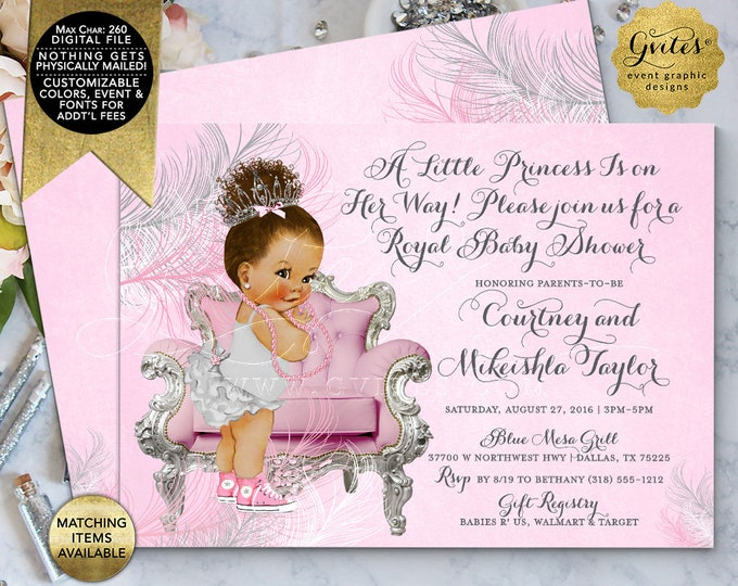 "Pink and Silver Baby Shower Invitations Afro Bun Curly Baby Girl. Printable Invites. A little princess is on the way. DIY, 7x5"" Double Sided"