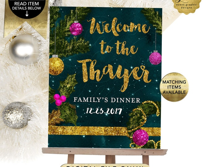 Welcome Holiday Christmas Sign, Welcome To The Family's Dinner, Party Printable Poster, Signs, Table Backdrops, DIY, Digital, Gvites.