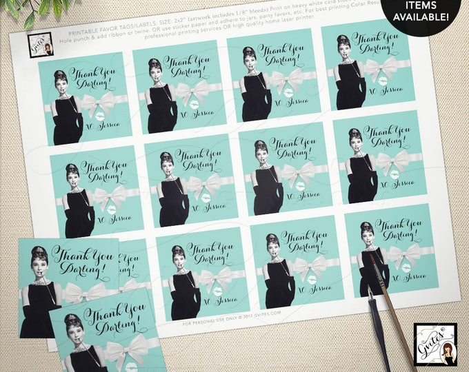 """Audrey Hepburn thank you gift tags, stickers, party favors breakfast at bridal blue favor thank you tags 2x2"""" 12/Per Sheet"""