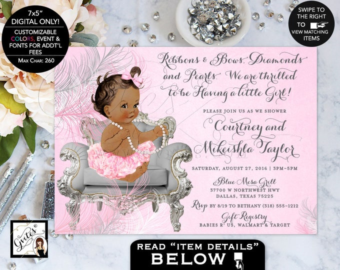 African American baby shower invitation, ribbons bows, diamonds pearls, ethnic shower invites. Gvites {Feathers: Silver/White/Pink}