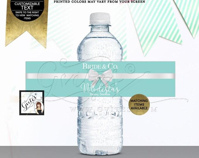 "Bride & Co Water Bottle Labels Stickers breakfast at blue bridal shower label, 8x2""/5 Per Sheet Digital File! {Realistic Satin Ribbon}"