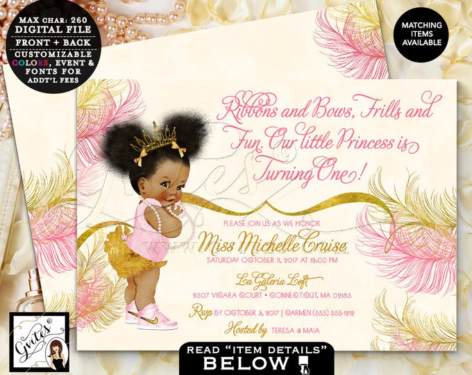 """First Outfit Girl, Baby Gold Birthday Invites, 1st Event, Pink Gold Ivory, African American DIGITAL,7x5"""" Double Sided. Gvites puffy afro."""