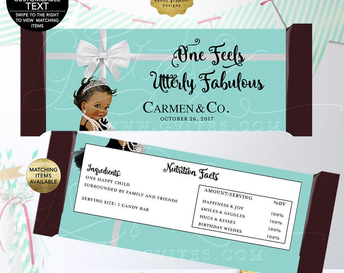 Baby and Co Candy Bar Wrapper Labels, Favors, Gifts, Breakfast at Party Printable BIRTHDAY, One Feels Utterly Fabulous, DIY, Digital.