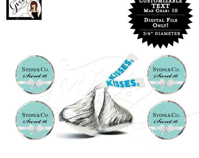Hershey kiss stickers sweet 16 breakfast at blue co themed labels, baby shower, birthday labels CUSTOMIZABLE {Designed For Avery® 41568}