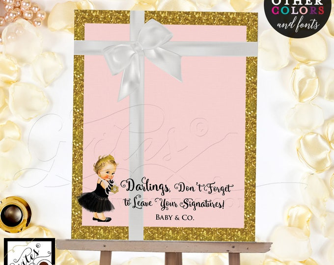 Pink and Gold Guest Book Alternative Poster Sign, customizable baby shower, please sign our guest book. Digital File Only!