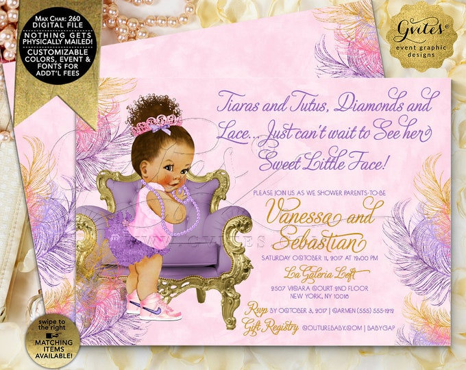 """Pink Purple and Gold Baby Shower Invitations - Printable Tutus Tiaras Diamonds and Lace can't wait to see her sweet little face. 7x5"""""""