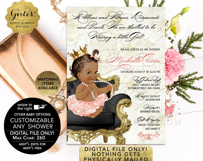 Peach and Black Baby Shower Princess | Printable/Digital File Only! JPG + PDF Format | 5x7"