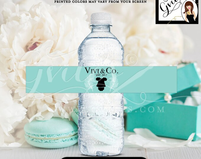 "Blue water bottle labels, stickers, personalized BABY GIRL breakfast at co, baby and co tags, party favors PRINTABLE. 8x1.5"" 6 Per/Sheet."